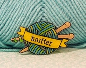 Knit Knitter Tattoo inspired brooch pin shades of green  - small