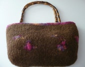 Felted lined Brown Floral Wool Purse