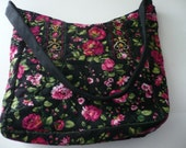 Stunning Black quilted Purse with Pink Roses FREESHIPPING U.S. only 25% off se coupon code present