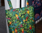 Tropical Birds Large Quilted Totebag SALE