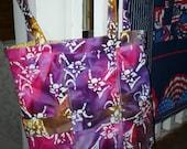 Beautiful Pink Purple Batik Large Quilted Totebag