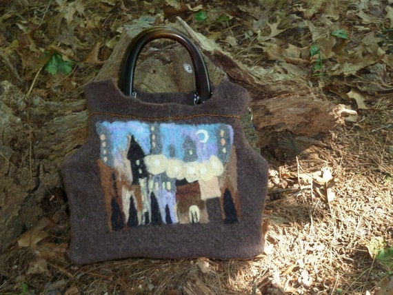Night Scenery Felted Art  Purse Free Shipping in U.S.20% off til Jan 1