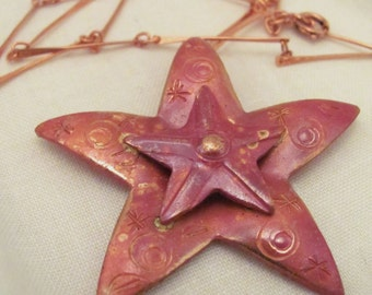 Etched Copper Double Star Pendant with Copper Chain Copper Pendant Gift for Wife Gift for Girlfriend Copper Star