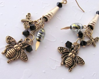 Bees and Dragonflies Swarovski Chain Earrings Gift for Girlfriend Daughter Wife Women Insect Lover Beekeeper Apiarist