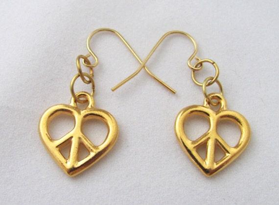 Peace Hearts Pierced Earrings