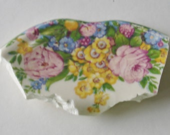 Craft Supplies - Mosaic Focal Piece - Yellow Pink Roses w Flowers-Broken Plate Pieces -  Vintage Tessera Piece