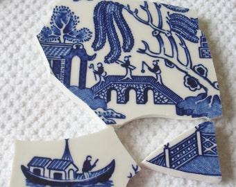 Mosaic Tiles Focal Tiles  Blue Willow  Bridge w Lovers, Father, Man Fishing Boat, Fence,  Vintage Broken Plate Tessera