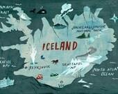 Iceland Map Digital Print / Illustration Typography Art Poster / Icelandic Nordic Wall Art / Kids Wall Decor