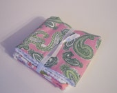 SALE Modern Flower Paisley Burp Cloths