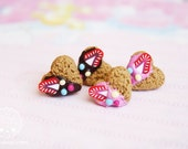Heart Cookie Studs  - handmade miniature polymer clay, gift for her, stocking filler