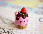 Hamster cupcake - kawaii anaimal necklace, gift for her