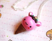 Strawberry Ice-cream Necklace - kawaii polymer clay charm, gift for her