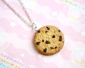 Chocolate Chip Cookie Necklace - cute polymer clay miniature, gift for her