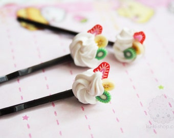 Miniature food jewelry - whipped cream bobby pin