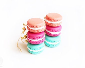 Macaron Earrings - food miniature jewelry, gift for her