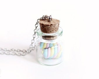 Marshmallow Jar Necklace - Cute miniature Jewelry, gift for her