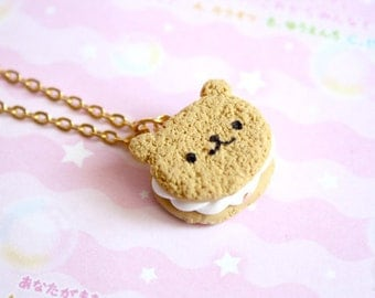 Bear Cookie Necklace, Polymer Clay Miniature Jewelry, gift for her