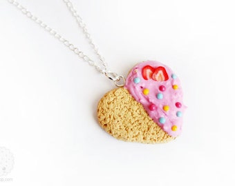 Heart Cookie Necklace- Kawaii Food Sweet Polymer Clay Miniature Jewelry, Gift for her