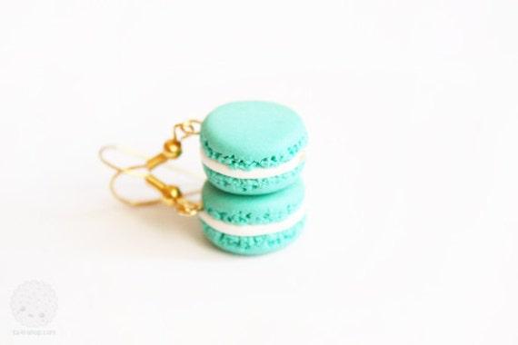 Mint Macaron Earrings - polymer clay miniature (PRE ORDER)