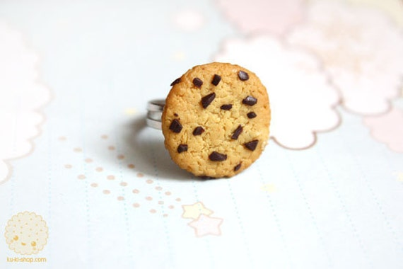 Chocolate Chip Cookie Ring - cute polymer clay miniature jewelry, gift for her, stocking stuffer