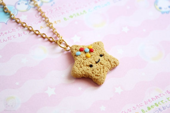 Star Cookie necklace - Cute Polymer Clay Food Miniature, gift for her, children jewelry