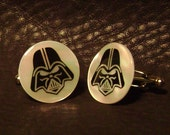 Darth Vader Engraved Mother of Pearl Cufflinks