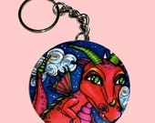 Red Baby Dragon KeyChain or Charm Fantasy Fairy Art by Christina Lynn Myers