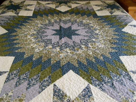 Shade Of Blue Star Patchwork Machine Quilt