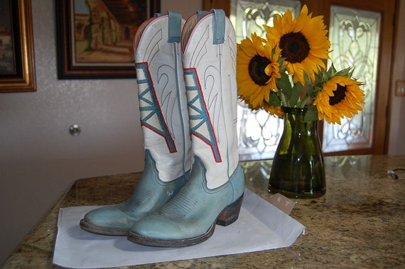 Texas HOUSTON OILERS vintage cowboy boots RARE 7 by hipwithstyle