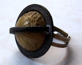 Vintage Globe Button Ring reserved for nikinoo