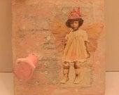 pink vintage fairy  collaged hook
