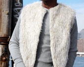 Cream Faux Fur Vest with Matching pants