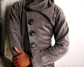 Men Jacket with Oversized Collar and diagonal closure