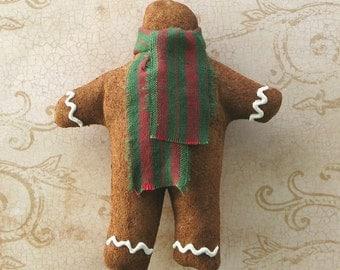 Faux Gingerbread Ornie. Unbreakable Cloth Christmas Ornament. American Folk Art Prim Xmas Tree Hanger. Rustic Holiday Decor