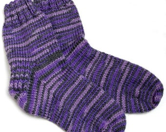 Childs Purple Stripe Crew Socks. Washable Wool and Bamboo. Kids 3 to 4 Years Ankle Sox. Knit Socks for Child