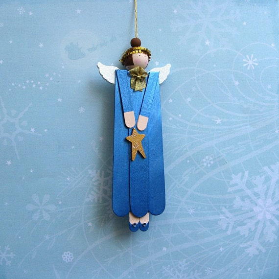 Hand Painted Wood Angel Ornament in Sapphire Blue