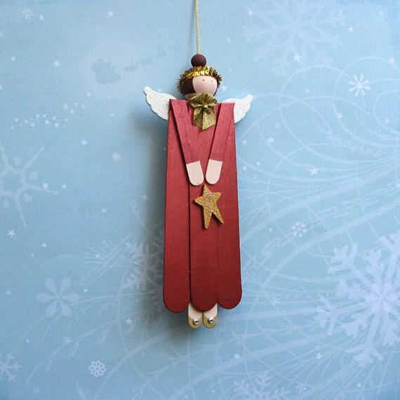 Wood Angel Christmas Ornament in Garnet
