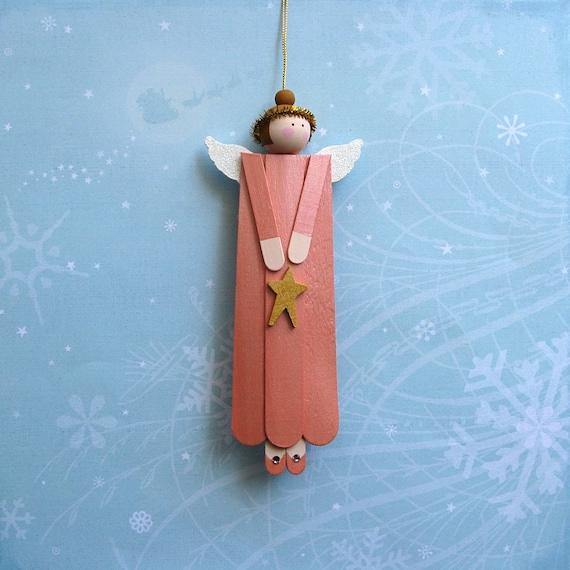 Wood Angel Ornament Peach Color