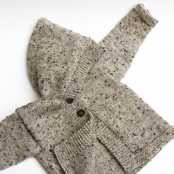 Toddler Hooded Handknit Sweater Child Hoodie Tan Tweed