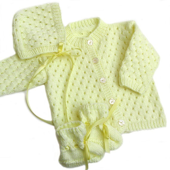 Handknit Baby Cardigan . Sweater Hat and Booties Set . 6 Months . Pale Yellow Acrylic . Infant Button Front Sweater . 3 Piece Set