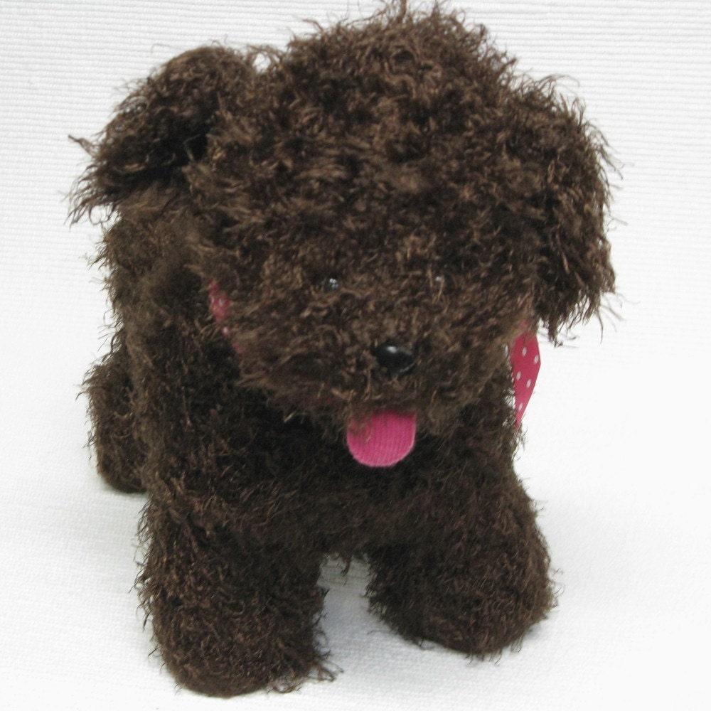 Handknit Felted Shaggy Brown Puppy Dog