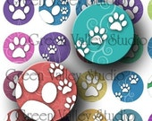 INSTANT DOWNLOAD Digital Images Collage Sheet Dogs Cats Animals Paws Print Swirls One Inch Circles for Pendants Magnets Scrapbooking (C57)