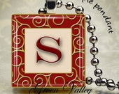 INSTANT DOWNLOAD Digital Images Sheet Red Gold Alphabet Inchies Golden Accents Elegant 1 Inch and 7/8 Inch Squares for Pendants (GS95,GSS95)