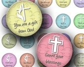 INSTANT DOWNLOAD Digital Collage Sheet White Crosses Religious Designs Christian God Inspirational One 1 Inch Circles for Pendants (C115)
