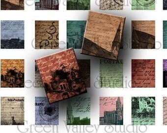 INSTANT DOWNLOAD Art Vintage Antique Postcards Digital Images Collage Sheet for Scrabble Tile Pendants .75 x .875 Inch (S8)