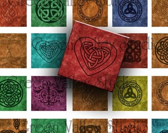 INSTANT DOWNLOAD Digital Art Celtic Designs Digital Images Sheet One Inch and 7/8 Inch Squares Tiles for Pendants Crafts (GS5,GSS5)