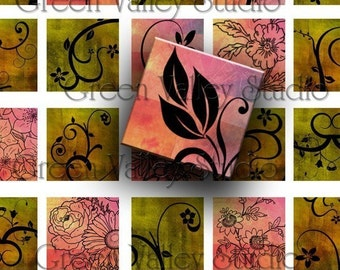INSTANT DOWNLOAD Digital Art Flowers Swirls Images Sheet Two Sizes One Inch and 7/8 Inch Squares for Pendants (GS4,GSS4)