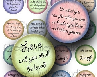 INSTANT DOWNLOAD Digital Images Sheet Inspirational Phrases Love Laugh Bright Colors One Inch Circles for Pendants Scrapbooking (C65)