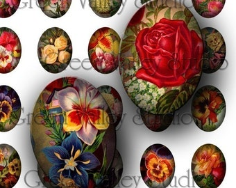 INSTANT DOWNLOAD Digital Collage Sheet Vintage Flowers Illustrations Small Tiny Ovals 13 x 18 mm for Pendants Magnets Scrapbooking (OS3)