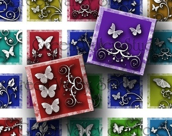 INSTANT DOWNLOAD Original Designs Digital Sheet Butterflies White Swirls Flowers One Inch and 7/8 Inch Squares for Pendants (GS13,GSS11)